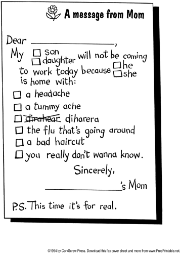 Fake Kid Sick Note For School